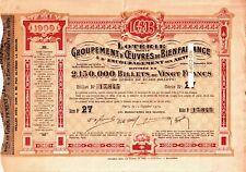 ACTION OBLIGATION Loterie pour Groupement Oeuvres Bienfaisance