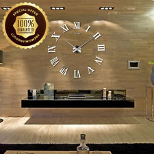 Modern DIY Large Wall Clock Big Watch Decal 3D Stickers Roman Numerals Silver UK