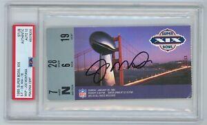 JOE MONTANA Signed 49ers Super Bowl SB XIX Ticket + PSA slabbed Auto MVP