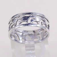 Sz 8.5, Vtg Sterling Silver Handmade Ring, 925 Silver Band W/ filigree Birds