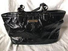 Coach Signature Black Patent Leather Embossed Medium Tote Purse 19462