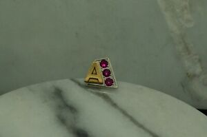 10K WHITE & YELLOW GOLD LETTER A SERVICE AWARD LAPEL PIN WITH PINK RUBIES #D2890