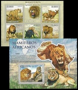 Sao Tome 2010 MNH MS+SS, Lion, Wild African Animals