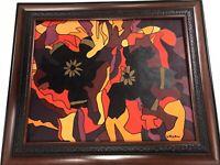DORIAN FEDKIW ABSTRACT CUBIST ORIGINAL ART ON CANVAS