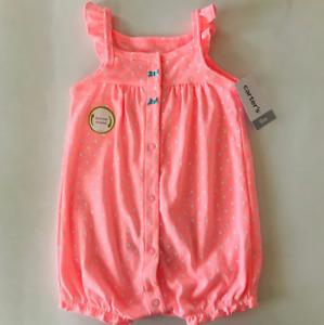 Carter's Baby Girl 3 Months Snap Up Romper Neon Pink Octopus Summer