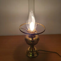 Vintage Brass Glass Funnell Oil Lamp, Converted to Electric Corded