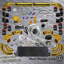 UNIVERSAL T3/T4 .57A/R TURBO KIT GOLD PIPING BLACK INTERCOOLER STAGE II UPGRADE