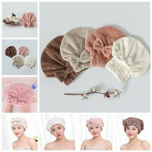 Microfiber Hair Towel Quick Dry Wrap Drying Bathing Shower Turban Head Hats Cap