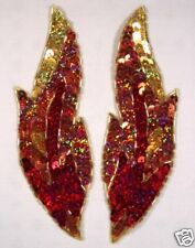 """SEQUIN BEADED APPLIQUES RED FLAME MIRROR PAIR DANCE SEWING PATCH 7"""" (0174)"""