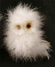 Fluffy White Barn Snow  Owl Marabou Feather Christmas Wreath Tree Ornament R