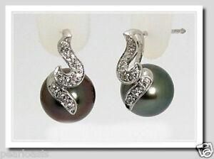9.8MM Tahitian Pearl Charm Diamond Earrings 18K White Gold, NEW