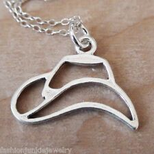 Cowboy Hat Necklace - 925 Sterling Silver - Hat Charm Cowgirl West Pendant NEW