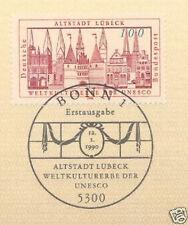 BRD 1990: Lübeck Weltkulturerbe! Nr. 1447 mit Bonner Ersttags-Sonderstempel! 1A