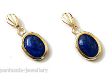 9ct Gold Lapis Lazuli Oval drop earrings Gift Boxed