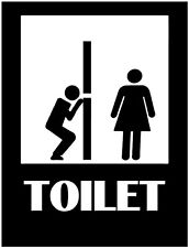 """10"""" TOILET ICON PICTO MAN WATCHING VINYL WALL DECAL STICKER"""