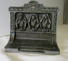 Antique Bradley & Hubbard Book End ~  SPEAK NO EVIL : HEAR NO EVIL : SEE NO EVIL