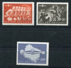 NDH CROATIA 3rd REICH PUPPET STATE 1945 STORM DIVISION SCOTT B73-B75 PERFECT MNH