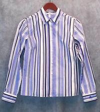TOMMY HILFIGER womens long sleeve shirt-button down-sz 4-blue striped-cotton