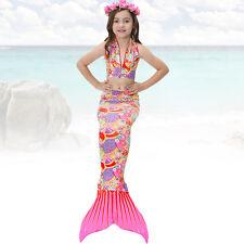 3pcs New Fairy Tale Kids Girl Mermaid Tail Swimmable Bikini Set Swimwear Costume