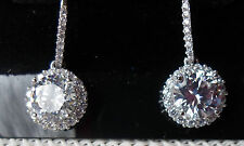 QVC Diamonique cz Sterling/Platinum clad 4.00+ cttw Halo French Wire Earrings