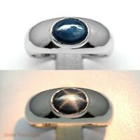 8x6mm Natural 6 Ray Dark Blue Star-Sapphire Ring in 925 Silver