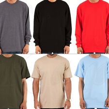 Heavy T Shirt Men Heavyweight Thick Long Sleeve Solid Crew Neck Plain Cotton Tee
