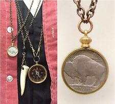 Antique Buffalo Nickel Necklace Vtg Chief coin pendant Men's jewelry old hipster