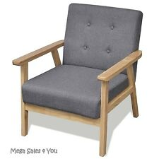 Retro Wooden Armchair Reclining Grey Chair Relax Seat Living Room Home Furniture