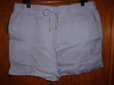 Ellen Tracey Womens Linen Chambray Shorts Size:  L  NWT