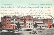 1913 Torbett Sanatorium Majestic Hotel & Bath House Marlin TX post card