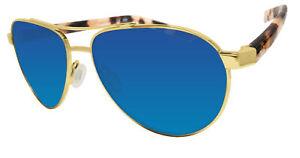 Costa Del Mar Fernandina brushed gold frame blue mirror 580 glass lens