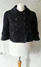 New Look Black Short Double Breasted Bell Sleeve Jacket Size 10 Worn Once