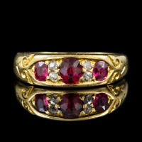 ANTIQUE VICTORIAN RUBY DIAMOND RING 18CT GOLD DATED 1858