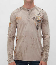 NEW AFFLICTION NAPALM ATTACK HENLEY LONG SLEEVE TEE TOP SZ M MEDIUM