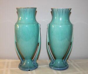 "Pair of Vtg Roseville Pottery 10 1/2"" Orian Turquoise Double Handled Vases #740"