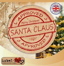 CH17 24x 40mm Santa Approved Xmas Present Kraft Sticker/Label/Card Stamp Seal