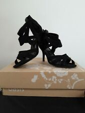Oasis - Black Strappy Suede Open Toe Stiletto Sandal - UK SIZE 4