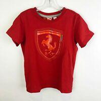 Puma Scuderia Ferrari Boys Small 8 9 Red Tee Top Shirt Short Sleeve Shield