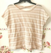 Earth Music Ecology Japan Pink Beige Knit Sweater Layer Top Stripe Bow Gold F