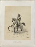 Litografia Di 1859: Charles D'Anjou. Portrait. Re Di Naples. Victor Adam