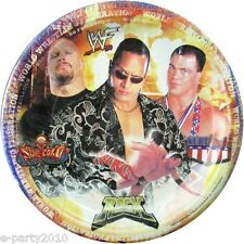 WWF WRESTLING VINTAGE Rock LARGE PAPER PLATES (8) ~ Birthday Party Supplies Boy