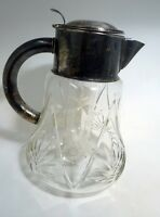 Vintage Cut Glass Large Pitcher Ice Chiller Insert Silverplate Lid Etched Grapes