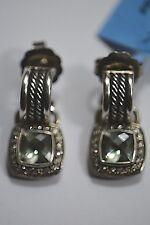 David Yurman Sterling Silver Diamonds Prasiolite Wheaton Hoop W/ Drop Earrings