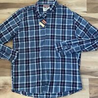 Wrangler Jeans Co Men's Large Blue Gray Red Plaid Long Sleeve Button Up Shirt
