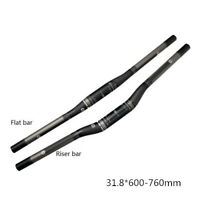 Carbon Handlebar MTB Mountain Road Bike Flat Bar Riser Bar Black 600-760*31.8mm