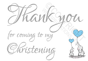 1-100 Pack Thank You for Coming to my Christening Cards Favours Boys Elephant