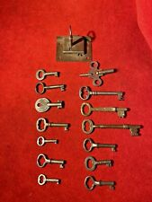 Great Collection Of Antique 1800'S Custom Hand Cut Skeleton Keys & Working Lock