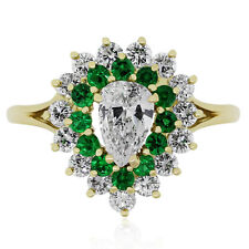 14k Yellow Gold 0.54ct Diamond and Emerald Ring