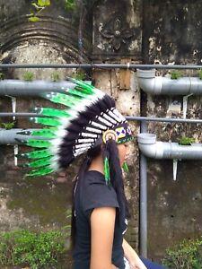 Hat Feather Green Headband Chief Warbonnet Replica Indian Headdress Handmade
