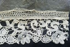 "A36 Antique Vtg Lace Brussels Fragment 8"" Trim Edging Remnant Sew Design"